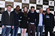 "(L-R) Director Marc Webb, actors Jamie Foxx, Emma Stone, Andrew Garfield, producers Matt Tolmach and Avi Arad attend ""The Amazing Spider-Man 2: Rise Of Electro"" press conference on March 31, 2014 in Tokyo, Japan."
