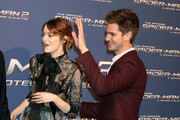 Actress Emma Stone and actor Andrew Garfield attend 'The Amazing Spider-Man 2: Rise Of Electro' Rome Premiere at The Space Moderno Cinema on April 14, 2014 in Rome, Italy.