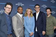 "Micah Bloomberg, Stephan James, Julia Roberts, Sam Esmail and Eli Horowitz attend the Amazon Prime Experience FYC Screening of ""Homecoming"" at Hollywood Athletic Club on May 05, 2019 in Hollywood, California."