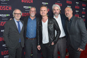 (L-R) Executive producer Pieter Jan Brugge, author and creator Michael Connelly, Head of Amazon Studios Roy Price, executive producer Henrik Bastin and actor Titus Welliver attend Amazon Red Carpet Premiere Screening For Season Two Of Original Drama Series, 'Bosch' on March 3, 2016 in Los Angeles, California.