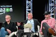 (L-R)  Executive producer Eric Overmyer, writer Michael Connelly and executive producer Henrik Bastin sit on the panel for Bosch during the Amazon Winter 2016 Television Critics Association Session at Langham Hotel on January 11, 2016 in Pasadena, California.