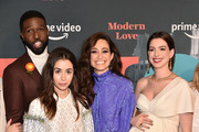 Brandon Kyle Goodman, Cristin Milioti, Emmy Rossum and Anne Hathaway attend Amazon's Museum Of Modern Love on October 10, 2019 in New York City.
