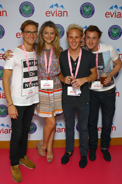 Amber Atherton Ollie Proudlock, Amber Atherton, Jamie Laing and Francis Boulle pose for pictures at Wimbledon's Evian Suite at Wimbledon on July 4, 2012 in London, England.