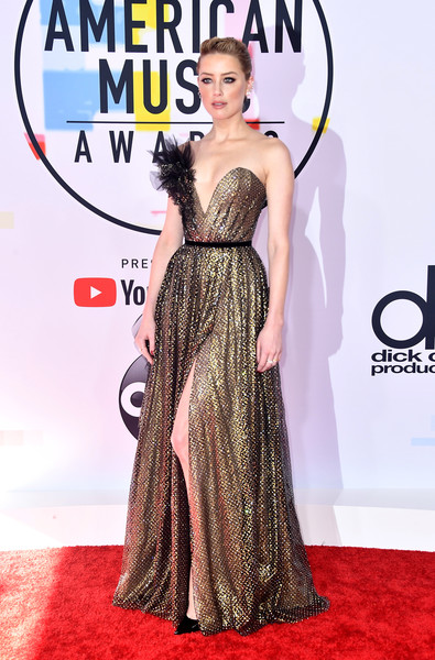 2018 American Music Awards - Arrivals [red carpet,clothing,dress,carpet,shoulder,gown,fashion model,fashion,premiere,flooring,arrivals,amber heard,american music awards,microsoft theater,los angeles,california]