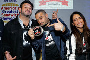 (L-R) Adam Richman, Founder & CEO of Goldbelly, Joe Ariel and Co-Founder & Chief Product Officer of Goldbelly, Vanessa Torrivilla attend America's Greatest Sandwich Showdown during New York City Wine & Food Festival at Highline Stages on October 13, 2019 in New York City.