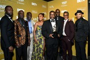 """The cast of """"The Wire"""" pose backstage during the American Black Film Festival Honors Awards Ceremony at The Beverly Hilton Hotel on February 23, 2020 in Beverly Hills, California."""