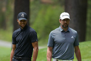 NBA athlete Stephen Curry of the Golden State Warriors and NFL athlete Aaron Rodgers of the Green Bay Packers look over the third green during round one of the American Century Championship at Edgewood Tahoe South golf course on July 10, 2020 in Lake Tahoe, Nevada.