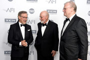 (L-R) Director Steven Spielberg, honoree John Williams and AFI Board of Trustees Chair Howard Stringer pose during the mock presentation at American Film Institute's 44th Life Achievement Award Gala Tribute reception to John Williams at Dolby Theatre on June 9, 2016 in Hollywood, California. 26148_001