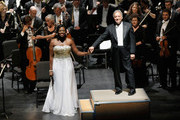 Conductor Zubin Mehta (R) onstage with the Israel Philharmonic Orchestra at American Friends Of The Israel Philharmonic Orchestra Benefit Honoring Hans Zimmer at Wallis Annenberg Center for the Performing Arts on July 16, 2014 in Beverly Hills, California.