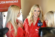 (L) Paris Hilton and Nicky Hilton Rothschild interview backstage at The American Heart Association's Go Red For Women Red Dress Collection 2020 at Hammerstein Ballroom on February 05, 2020 in New York City.