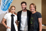 (L-R) Jennifer Lopez, Harry Connick, Jr. and Keith Urban arrive at the Ernest N. Morial Convention Center on August 27, 2014 in New Orleans, Louisiana.