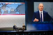 Former British Prime Minister Tony Blair (L) speaks during a the American Israel Public Affairs Committee (AIPAC) Policy Conference in Washington, on March 26, 2017.  / AFP PHOTO / Andrew Biraj