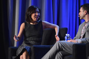 Janice Min, president and chief creative officer, The Hollywood Reporter-Billboard Media Group and Chad Millman, editor in chief, ESPN.com and ESPN The Magazine  speak onstage at the American Magazine Media Conference at Grand Hyatt New York on February 2, 2016 in New York City.