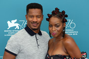 """Director Nate Parker and Miluana Jackson attends """"American Skin"""" photocall during the 76th Venice Film Festival at Sala Grande on September 01, 2019 in Venice, Italy."""