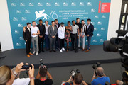 "(L-R) Lukas Behnken, guest, Shane Paul McGhie, guest, Theo Rossi, producer Tarak Ben Ammar, Spike Lee, Miluana Jackson, director Nate Parker, producer Mark Burg, Beau Knapp and producer Zak Tanjeloff attend ""American Skin"" photocall during the 76th Venice Film Festival at Sala Grande on September 01, 2019 in Venice, Italy."