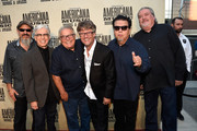 Los Lobos' Steve Berlin, Louie Perez, and Conrad Lozano; Americana Music Association Executive Director Jed Hilly; and Los Lobos' Cesar Rosas and David Hidalgo attend the 14th annual Americana Music Association Honors and Awards Show at the Ryman Auditorium on September 16, 2015 in Nashville, Tennessee.