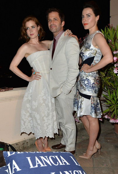 Celebrities At The Lancia Cafe - Day 1 - Taormina Filmfest 2013 [shoulder,dress,clothing,fashion,event,lady,joint,gown,formal wear,fun,taormina filmfest,lancia cafe,taormina,italy,celebrities,zack snyder,antje traue,amy adams]
