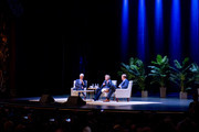 """Former President of the United States Bill Clinton with his wife, Former Secretary of State and presidential candidate Hillary Clinton and moderator Paul Begala on Stage during """"An Evening With The Clintons"""" at Beacon Theatre on April 11, 2019 in New York City."""