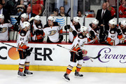 Simon Despres #24 of the Anaheim Ducks skates to the bench after scoring in the second period against the Chicago Blackhawks in Game Three of the Western Conference Finals during the 2015 NHL Stanley Cup Playoffs at the United Center on May 21, 2015 in Chicago, Illinois.