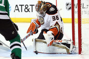 John Gibson #36 of the Anaheim Ducks makes a save against the Dallas Stars in the first period at American Airlines Center on October 13, 2018 in Dallas, Texas.