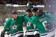 (L-R) Tyler Seguin #91 of the Dallas Stars; Patrik Nemeth #37 of the Dallas Stars; Jamie Benn #14 of the Dallas Stars; and Trevor Daley #6 of the Dallas Stars celebrate after Benn scored against the Anaheim Ducks in the first period in Game Three of the First Round of the 2014 NHL Stanley Cup Playoffs at at American Airlines Center on April 21, 2014 in Dallas, Texas.