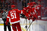 Frans Nielsen #51 of the Detroit Red Wings celebrates his second period goal while playing the Anaheim Ducks at Little Caesars Arena on February 13, 2018 in Detroit, Michigan.