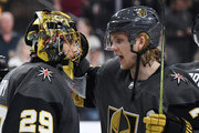 Marc-Andre Fleury #29 and William Karlsson #71 of the Vegas Golden Knights celebrate on the ice after the team's 3-1 victory over the Anaheim Ducks at T-Mobile Arena on October 20, 2018 in Las Vegas, Nevada.