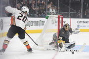 Marc-Andre Fleury #29 of the Vegas Golden Knights blocks a shot by Pontus Aberg #20 of the Anaheim Ducks in the first period of their game at T-Mobile Arena on October 20, 2018 in Las Vegas, Nevada.