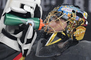 Marc-Andre Fleury #29 of the Vegas Golden Knights takes a break during a stop in play in the first period of a game against the Anaheim Ducks at T-Mobile Arena on October 20, 2018 in Las Vegas, Nevada. The Golden Knights defeated the Ducks 3-1.