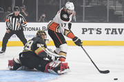 Ryan Kesler #17 of the Anaheim Ducks tries to direct the puck into the net as Marc-Andre Fleury #29 of the Vegas Golden Knights defends in the first period of their game at T-Mobile Arena on October 20, 2018 in Las Vegas, Nevada.