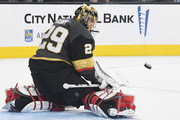 Marc-Andre Fleury #29 of the Vegas Golden Knights blocks an Anaheim Ducks' shot in the third period of their game at T-Mobile Arena on October 20, 2018 in Las Vegas, Nevada. The Golden Knights defeated the Ducks 3-1.