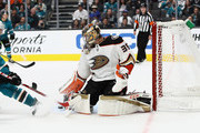 John Gibson #36 of the Anaheim Ducks in action against the San Jose Sharks at SAP Center on October 3, 2018 in San Jose, California.