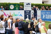 Lee Westwood of England hits their tee shot on the first hole during the third round on day four of Andalucia Valderrama Masters at Real Club Valderrama on October 21, 2018 in Cadiz, Spain. The event has been shorted to a 54 hole tournament due to bad weather.
