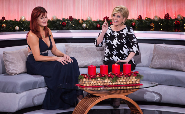 'Die schoensten Weihnachtshits' Taping [tv show,tv show,dress,table,party,event,drink,andrea berg,carmen nebel,germany,december 4,l-r,munich,weihnachtshits]