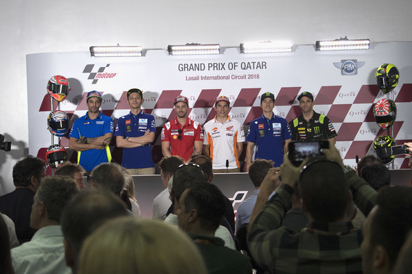 MotoGP Of Qatar - Previews [qatar - previews,team,event,crowd,technology,competition,room,vehicle,championship,recreation,news conference,andrea iannone,valentino rossi,team suzuki ecstar,motogp,l-r,movistar yamaha motogp,italy,spain,repsol honda team]