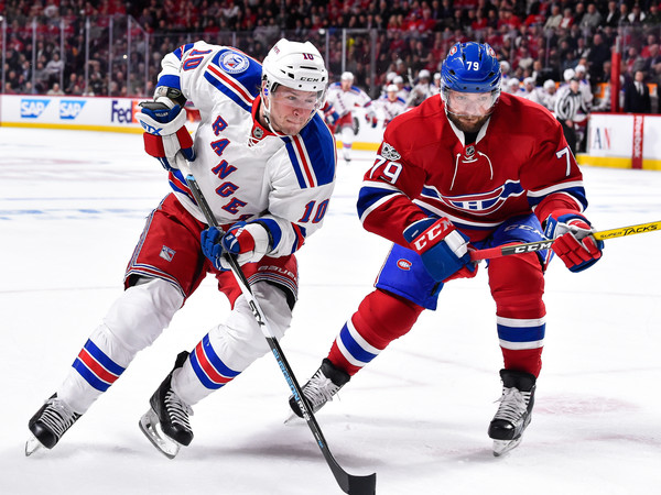 New York Rangers v Montreal Canadiens - Game One [player,college ice hockey,ice hockey,hockey pants,ice hockey position,sports gear,defenseman,sports,hockey,hockey protective equipment,game one,j.t.,andrei markov,skates,canada,montreal canadiens,new york rangers,miller 10,eastern conference,round]