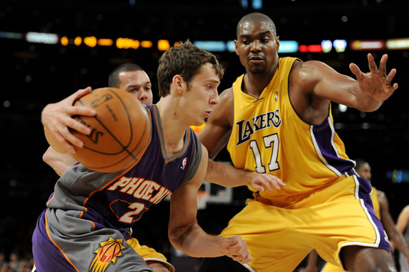 Goran Dragic and Andrew Bynum - Phoenix Suns v Los Angeles Lakers, Game 1