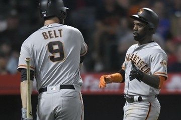 Andrew McCutchen San Franciso Giants vs. Los Angeles Angels of Anaheim