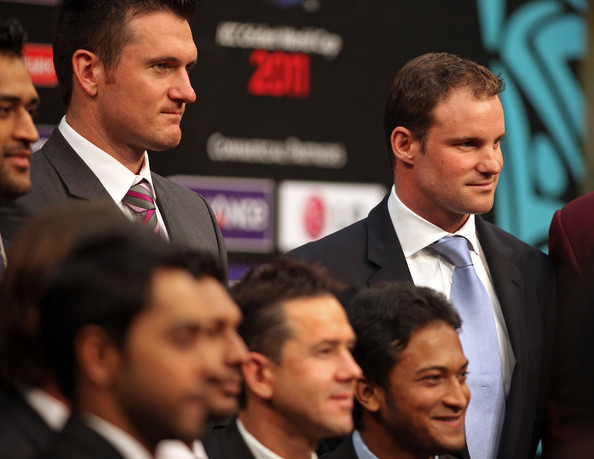 Andrew Strauss Captain Andrew Strauss of England (R) and Captain Graeme Smith of South Africa (L) the captain's press conference at the Dhaka Sheraton Hotel ahead of the opening ceremony for the 2011 ICC World Cup on February 17, 2011 in Dhaka, Bangladesh.