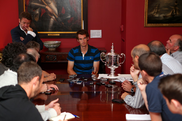 2012 US Open Champion Andy Murray - New York City Trophy Tour [event,table,conversation,meeting,businessperson,restaurant,lunch,recreation,games,management,andy murray,journalists,new york city,british,great britain,consulate,2012 us open,trophy tour,trophy tour,victory]