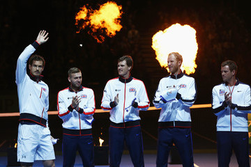 Andy Murray Daniel Evans Great Britain v Japan - Davis Cup: Day One