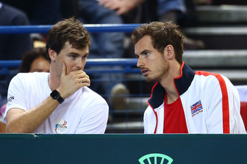 Andy Murray Jamie Murray Great Britain v Japan - Davis Cup: Day One