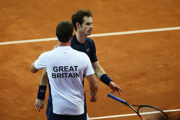 Andy Murray Leon Smith Belgium v Great Britain: Davis Cup Final 2015 - Day One