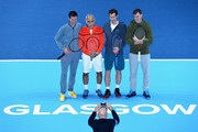 Tim Henman, Mansour Bahrami, Andy Murray and Jamie Murray pose for photos during Andy Murray Live at The Hydro on November 7, 2017 in Glasgow, Scotland.