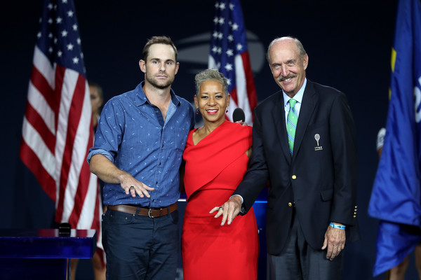 2018 US Open - Day 12 [photo,blue,event,red,award ceremony,official,ceremony,employment,award,speech,performance,andy roddick,men,katrina adams,stan smith,united states tennis association,international tennis hall of fame,us open,ring presentation ceremony,matches]