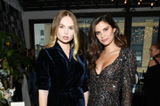 "Elena Matei (L) and Sara Sampaio attend as Angel Sara Sampaio & designer Lisa Chavy introduce ""LIVY"" at Landmarc, West Broadway on February 12, 2019 in New York City."