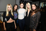 "(L-R) Maya Stepper, Maia Cotton, Megan Williams, Devon Windsor, and Sara Sampaio attend as Angel Sara Sampaio & designer Lisa Chavy introduce ""LIVY"" at Landmarc, West Broadway on February 12, 2019 in New York City."