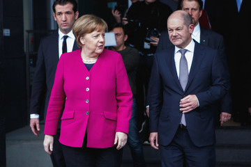 Angela Merkel Political Parties Hold Press Conferences Prior To Coalition Signing