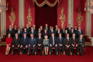 Angela Merkel Jens Stoltenberg HM The Queen Hosts NATO Leaders At Buckingham Palace Banquet