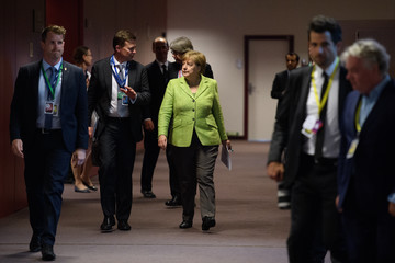 Angela Merkel Delegates Attend the European Council Meeting in Brussels - Day One